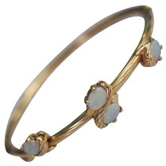 Vintage Estate 14 Karat Yellow Gold Opal Bamboo Bangle Bracelet