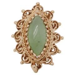 Vintage Estate 14k Yellow Gold Cabochon Jadeite Jade Ring