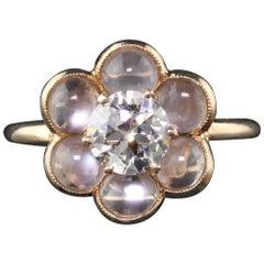 Vintage Estate 14 Karat Yellow Gold Moonstone and Diamond Engagement Ring