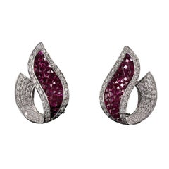 Vintage Estate 18 Karat White Gold Diamond and Ruby Earrings
