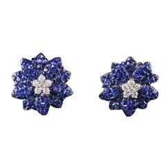 Vintage Estate 18 Karat White Gold Diamond and Sapphire Cluster Earrings