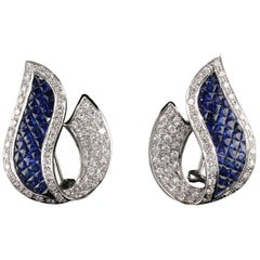 Vintage Estate 18 Karat White Gold Diamond and Sapphire Earrings