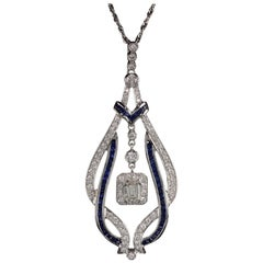 Vintage Estate 18 Karat White Gold Diamond and Sapphire Necklace
