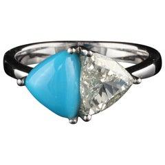 Vintage Estate 18 Karat White Gold Diamond and Turquoise Ring