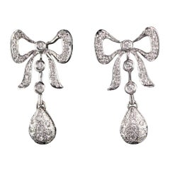 Vintage Estate 18 Karat White Gold Diamond Bow Earrings