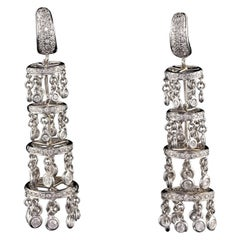 Vintage Estate 18 Karat White Gold Diamond Chandelier Drop Earrings