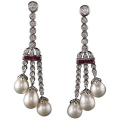 Vintage Estate 18 Karat White Gold Diamond, Ruby, and Pearl Earrings