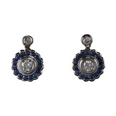 Vintage Estate 18 Karat White Gold Diamond Sapphire Earrings