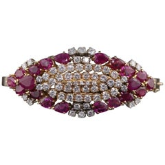 Vintage Estate 18 Karat Yellow Gold Diamond and Ruby Bangle Bracelet