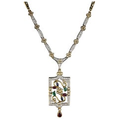 Vintage Estate 18 Karat Yellow Gold Diamond, Ruby, Emerald and Sapphire Necklace
