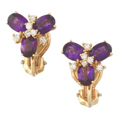 Vintage Estate 18K Gold Amethyst Diamond Omega Pierced Stud Cluster Earrings