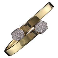 Vintage Estate 18 Karat Two-Tone Gold Diamond Bangle Bracelet