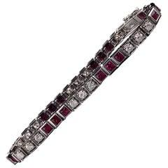 Vintage Estate 18 Karat White Gold Diamond and Ruby Bracelet