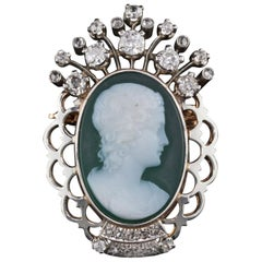 Vintage Estate 18 Karat Yellow Gold, Platinum and Diamond Cameo Brooch