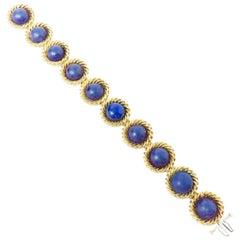 Vintage Estate 1970s Tiffany & Co. 18 Karat Lapis Lazuli Cuff Bracelet