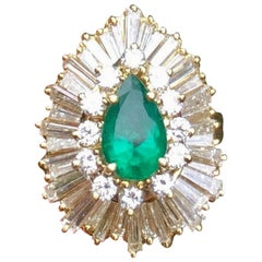 Vintage Estate 3.44 Carat Diamond Halo Emerald Ballerina Cocktail Ring