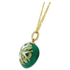 Vintage/ Estate Acquired Ananov 14 Karat Gold Green Guilloche Enamel Egg Pendent