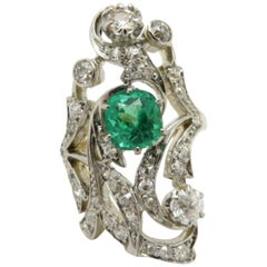 Vintage Estate Antique Platinum and 18 Karat Gold Emerald and Diamond Ring