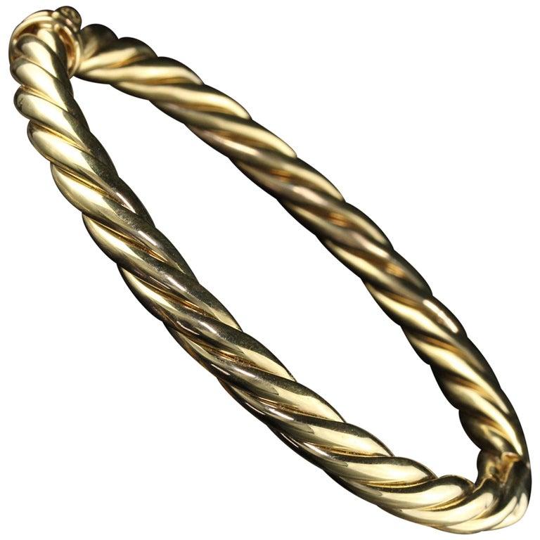 Vintage Estate David Yurman 18 Karat Yellow Gold Twist Bangle Bracelet For Sale