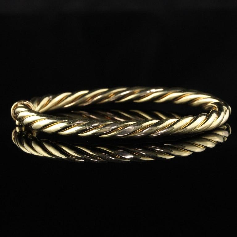 Modern Vintage Estate David Yurman 18 Karat Yellow Gold Twist Bangle Bracelet For Sale