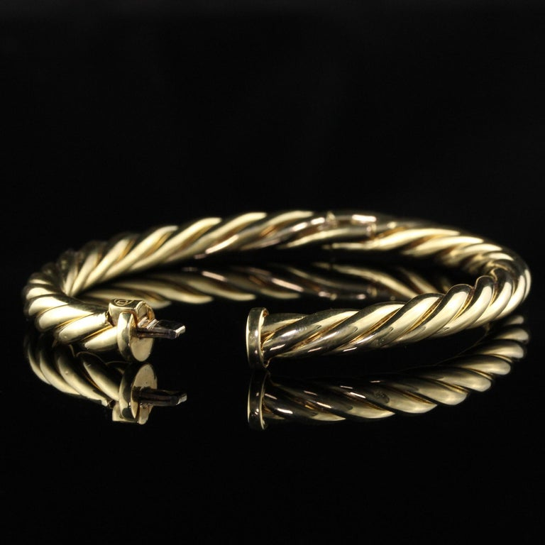 Vintage Estate David Yurman 18 Karat Yellow Gold Twist Bangle Bracelet In Good Condition For Sale In Great Neck, NY