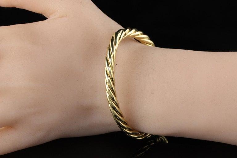 Women's or Men's Vintage Estate David Yurman 18 Karat Yellow Gold Twist Bangle Bracelet For Sale