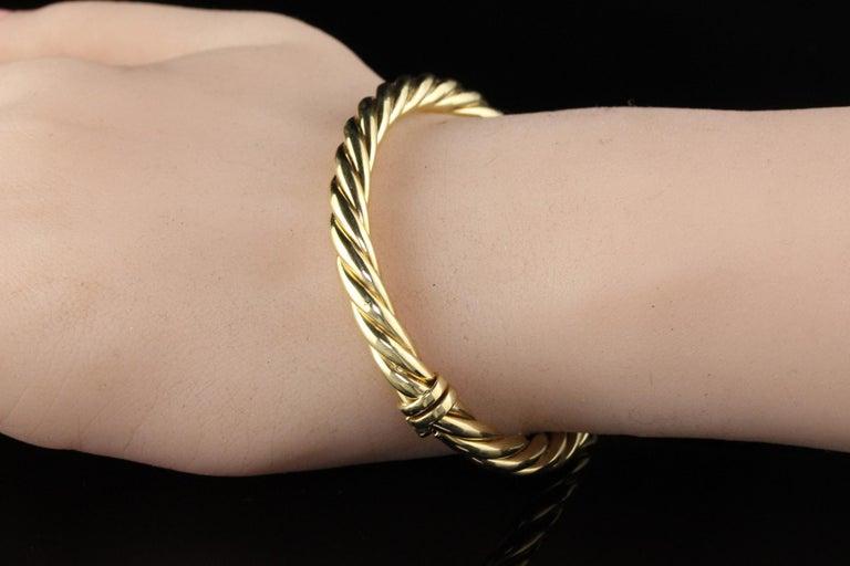 Vintage Estate David Yurman 18 Karat Yellow Gold Twist Bangle Bracelet For Sale 1