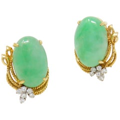 Vintage Estate GIA Certified Jade G/VS Diamond Large Stud Earrings