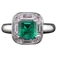 Vintage Estate Platinum Colombian Emerald and Diamond Ring, GIA Certified