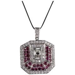 Vintage Estate Platinum Diamond and Ruby Pendant