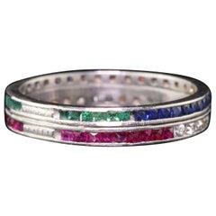 Vintage Estate Platinum Diamond, Emerald, Ruby and Sapphire Eternity Band