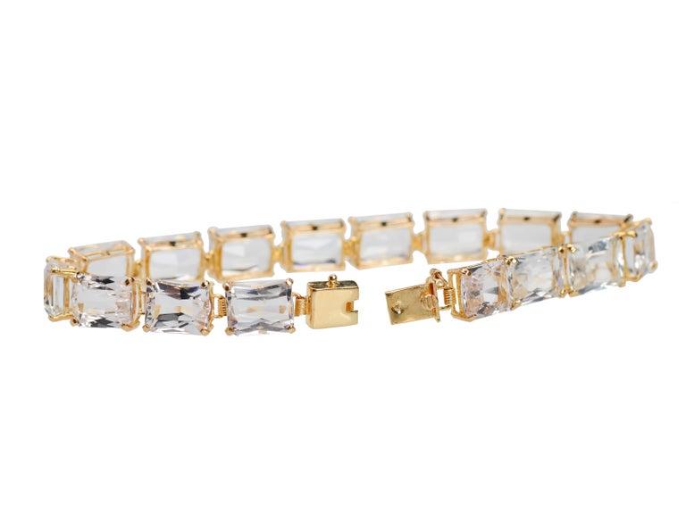 Women's or Men's Vintage Estate Rock Crystal Bracelet For Sale