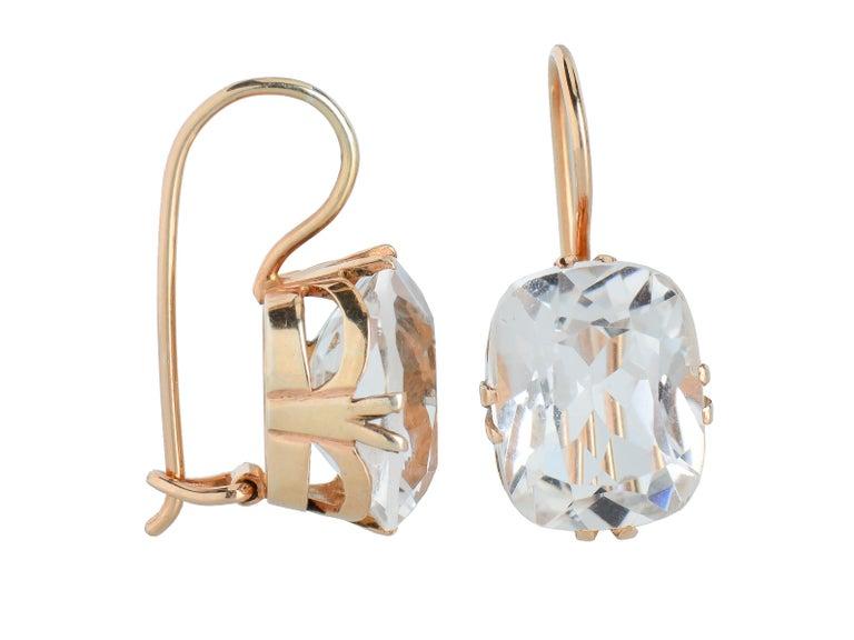 Modern Vintage Estate Rock Crystal Earrings For Sale