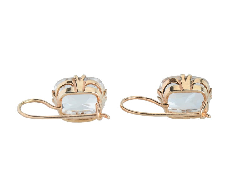 Emerald Cut Vintage Estate Rock Crystal Earrings For Sale