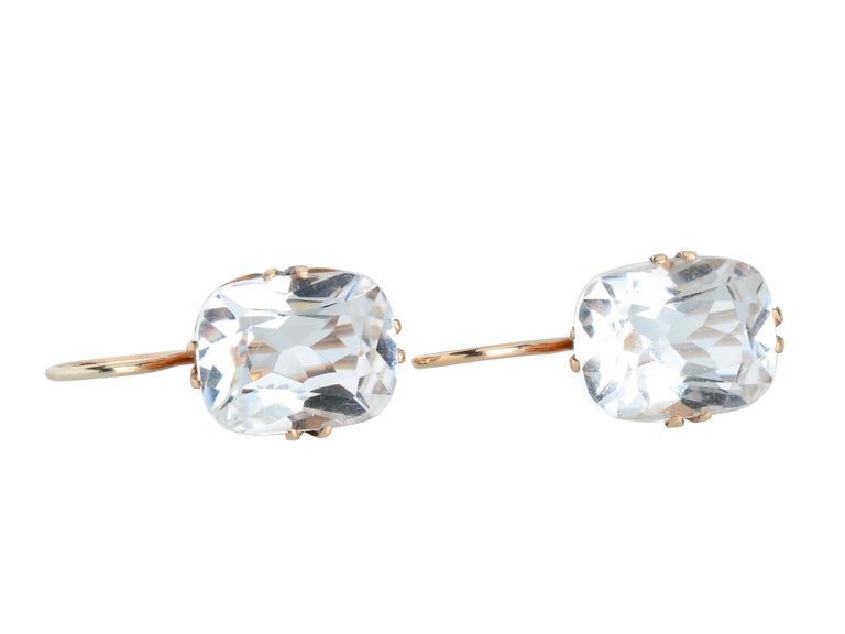 Vintage Estate Rock Crystal Earrings In Excellent Condition For Sale In Stamford, CT
