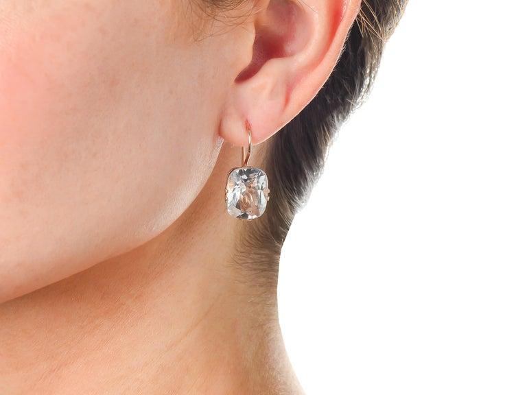 Women's or Men's Vintage Estate Rock Crystal Earrings For Sale