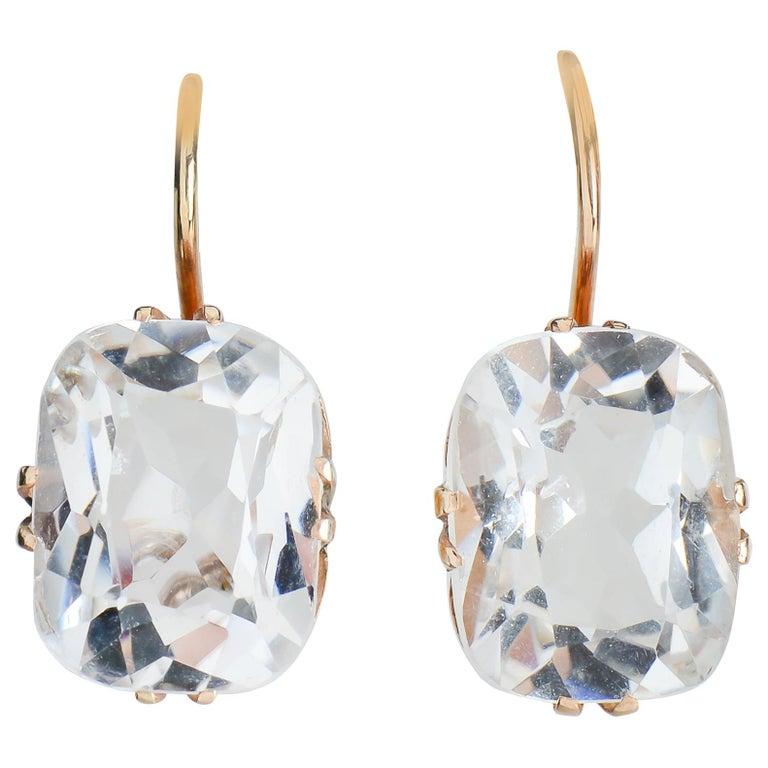 Vintage Estate Rock Crystal Earrings For Sale