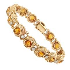 Vintage Estate Round Cut Citrine and Diamond 14 Karat Yellow Gold Bracelet