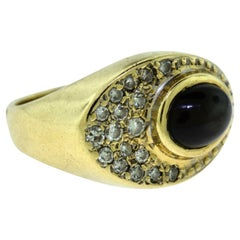 Vintage Estate Sapphire and Diamond Yellow Gold Ring