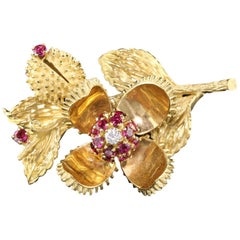 Vintage Estate Tiffany & Co. 18 Karat Yellow Gold Ruby and Diamond Flower Brooch