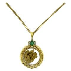 Vintage Estate Yellow Gold Nugget Flakes 24 Karat Filled Necklace Pendant