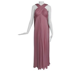 Vintage Estevez Pink Matte Jersey Goddess Gown 1970s