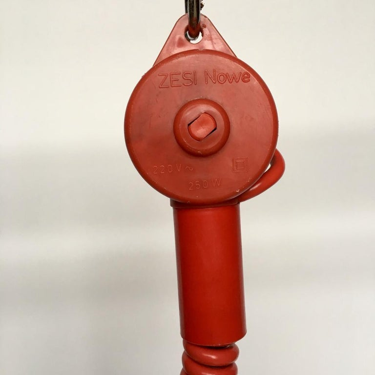 Vintage Estonian Red Metal Pendant Lamp from Zesi Nowe, 1970s For Sale 5