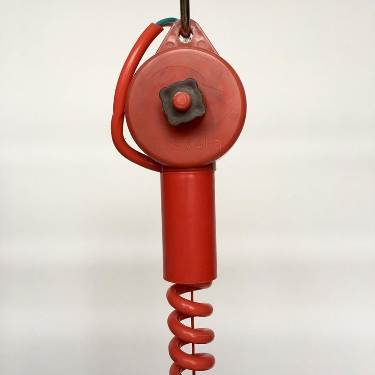 Vintage Estonian Red Metal Pendant Lamp from Zesi Nowe, 1970s For Sale 6