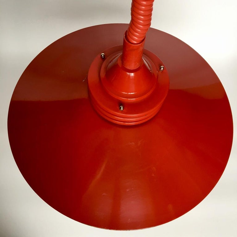 Late 20th Century Vintage Estonian Red Metal Pendant Lamp from Zesi Nowe, 1970s For Sale