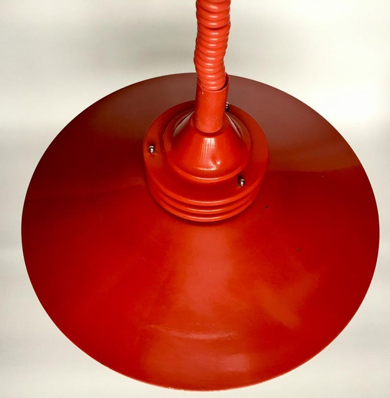Vintage Estonian Red Metal Pendant Lamp from Zesi Nowe, 1970s For Sale 1