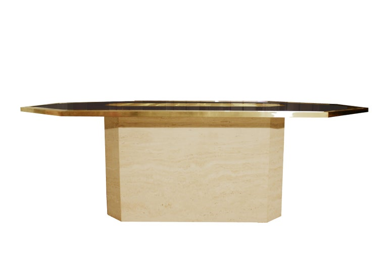 Very rare etched brass art table by Roger Vanhevel.