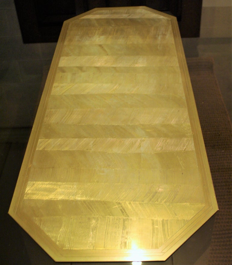 Vintage Etched Brass Art Design Table by Roger Vanhevel For Sale 2