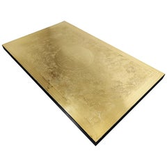 Vintage Etched Brass Coffee Table by Albert Verneuil, 1970s