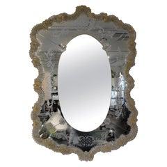Vintage Etched Venetian Mirror